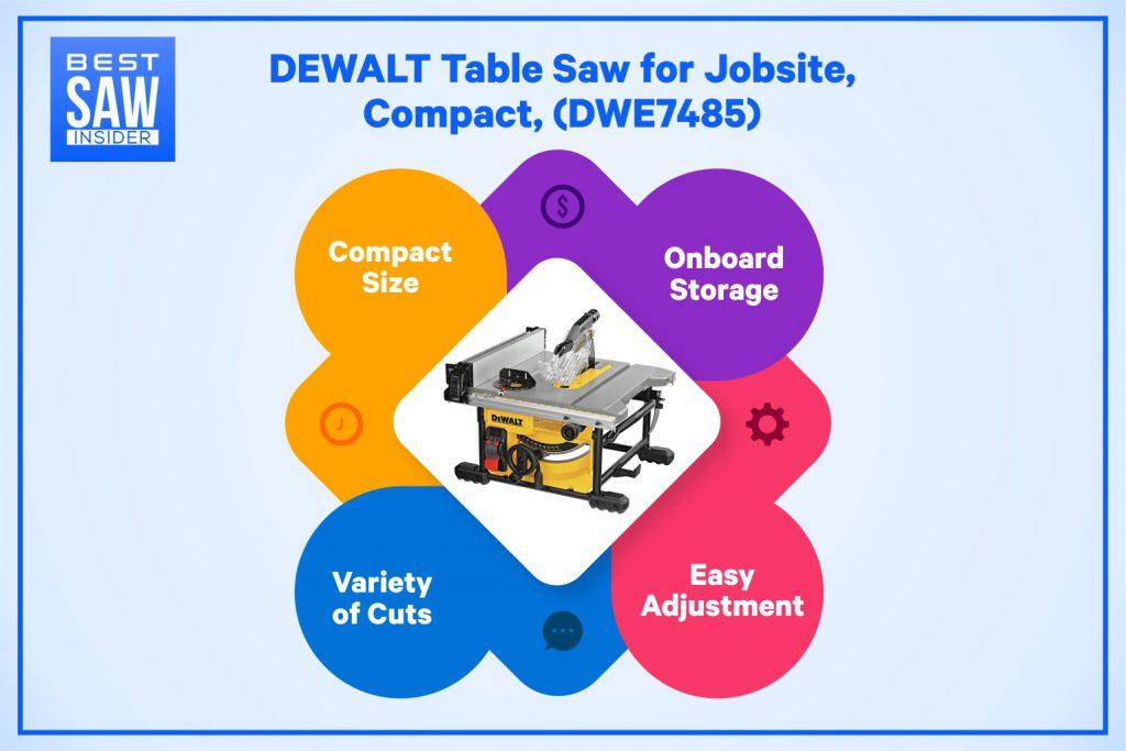 DEWALT DWE7485 infographic