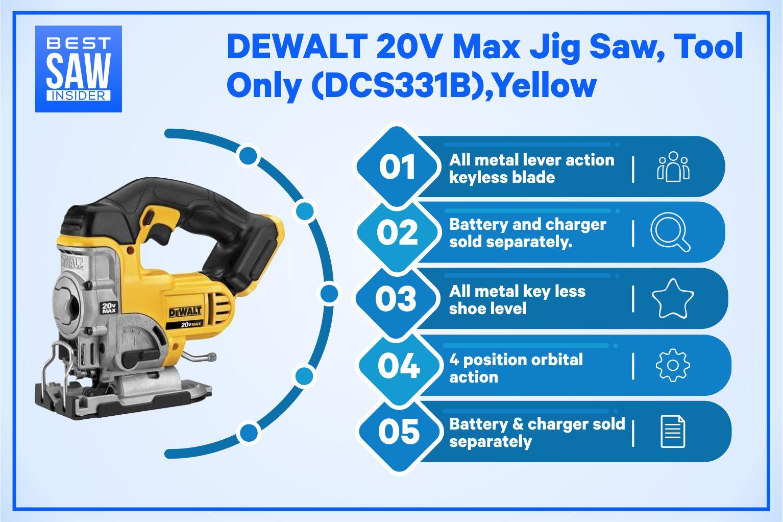 DeWalt DCS331B 20V Cordless JigSaw infographic